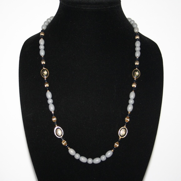 Vintage Jewelry - Beautiful gray gold and black cloisonne necklace